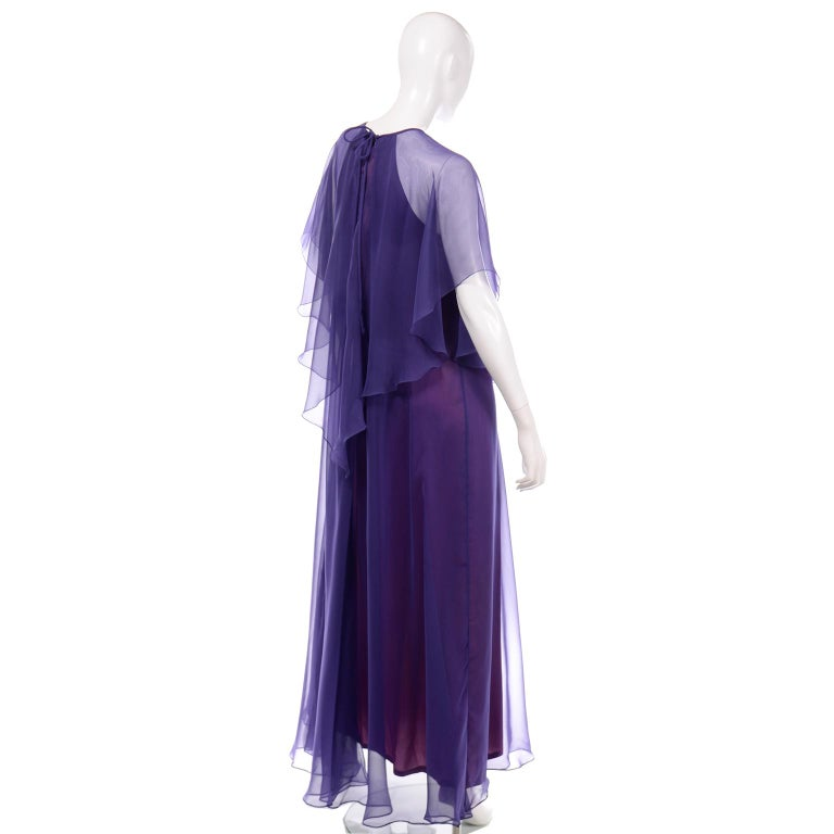 Women's Jean Varon 1970s Vintage Blue Chiffon Evening Dress With Sheer Overlay For Sale