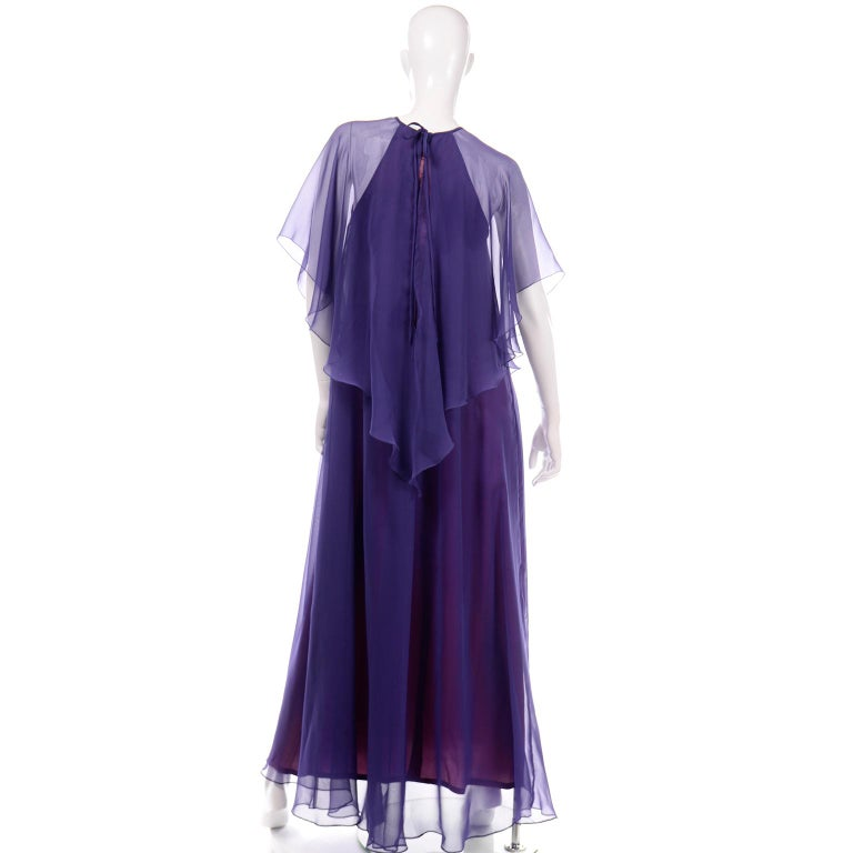 Jean Varon 1970s Vintage Blue Chiffon Evening Dress With Sheer Overlay For Sale 1