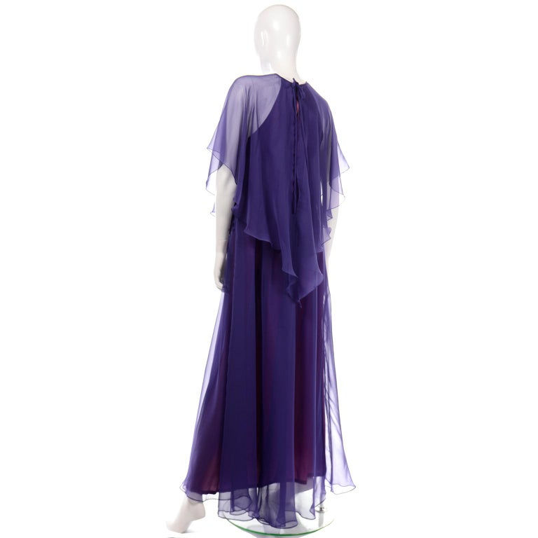 Jean Varon 1970s Vintage Blue Chiffon Evening Dress With Sheer Overlay For Sale 2