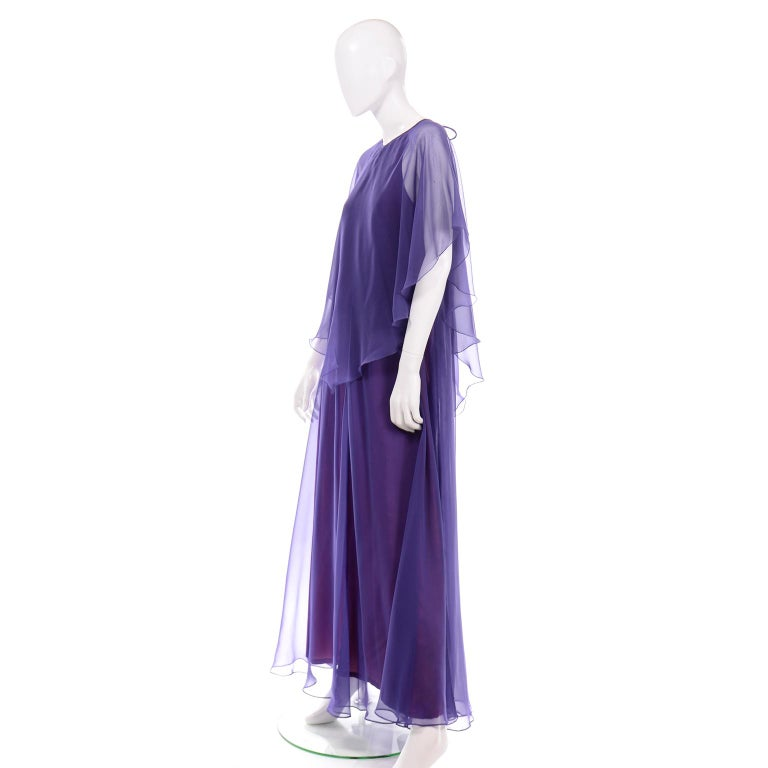Jean Varon 1970s Vintage Blue Chiffon Evening Dress With Sheer Overlay For Sale 3
