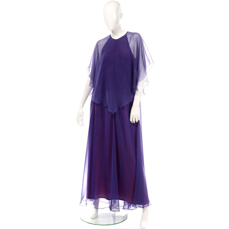 Jean Varon 1970s Vintage Blue Chiffon Evening Dress With Sheer Overlay For Sale 4