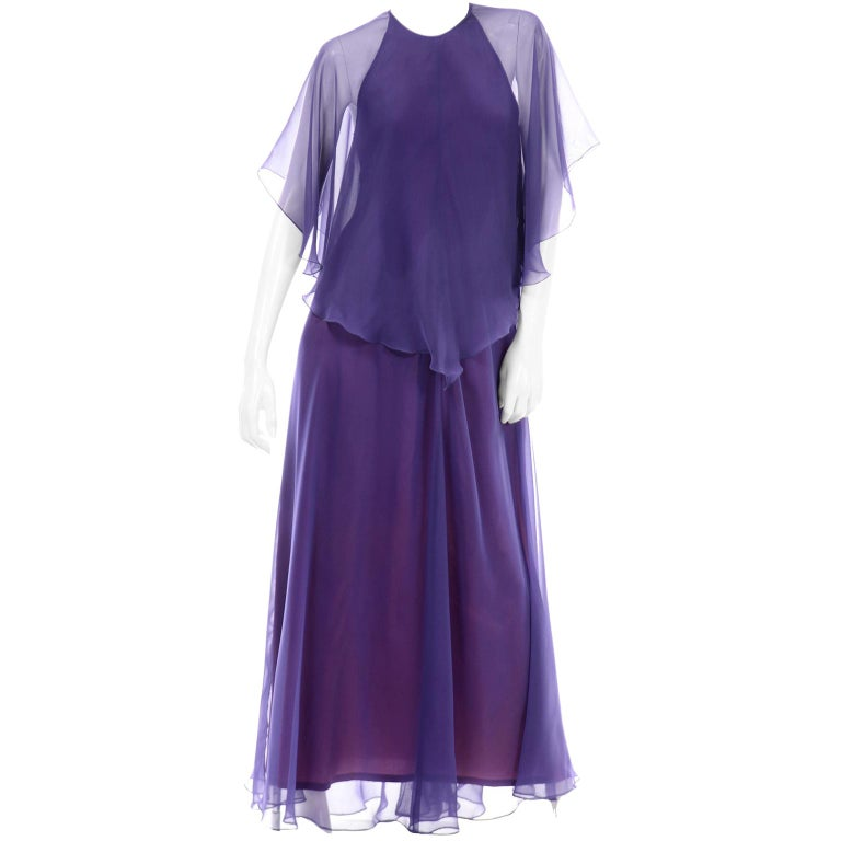 Jean Varon 1970s Vintage Blue Chiffon Evening Dress With Sheer Overlay For Sale