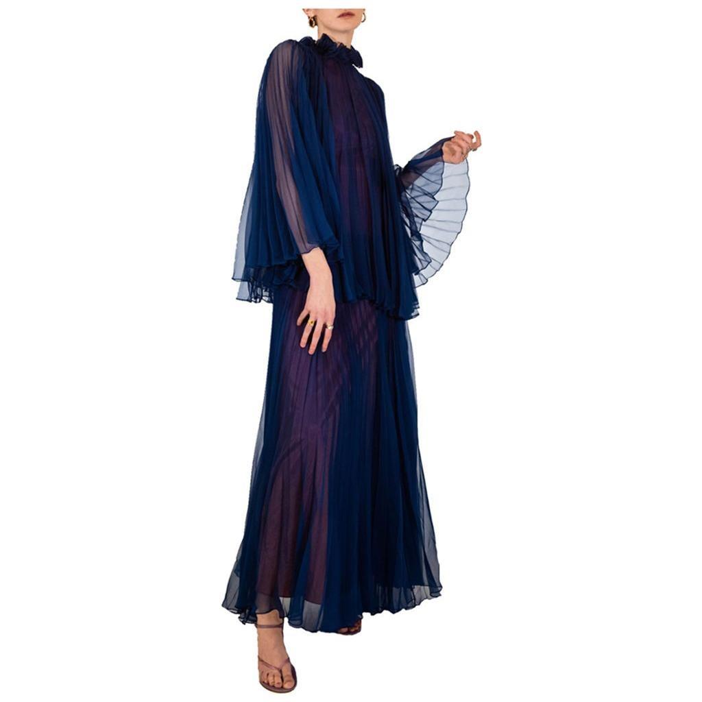 Jean Varon Blue / Purple Pleated Dress 1970's