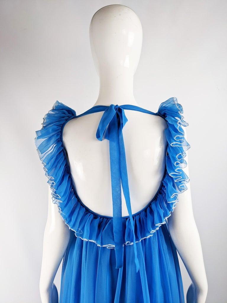 Jean Varon Vintage 1960s Blue Chiffon Maxi Evening Dress 6