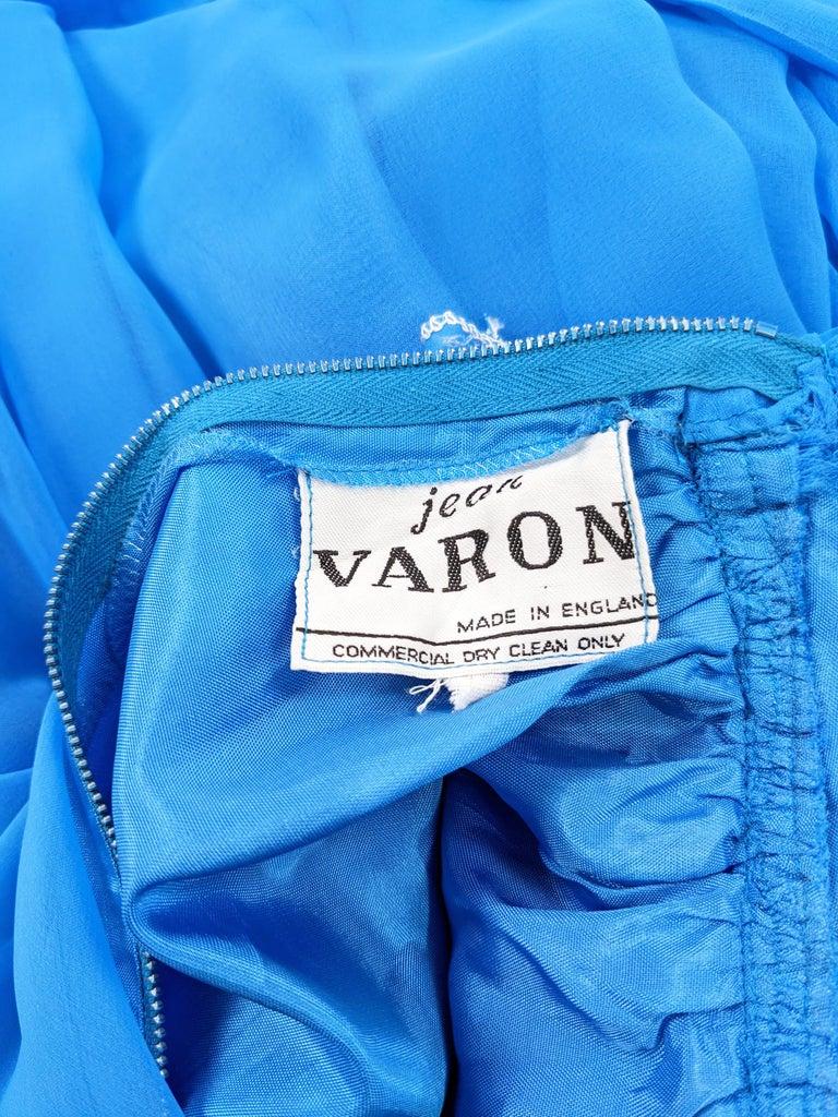 Jean Varon Vintage 1960s Blue Chiffon Maxi Evening Dress 7