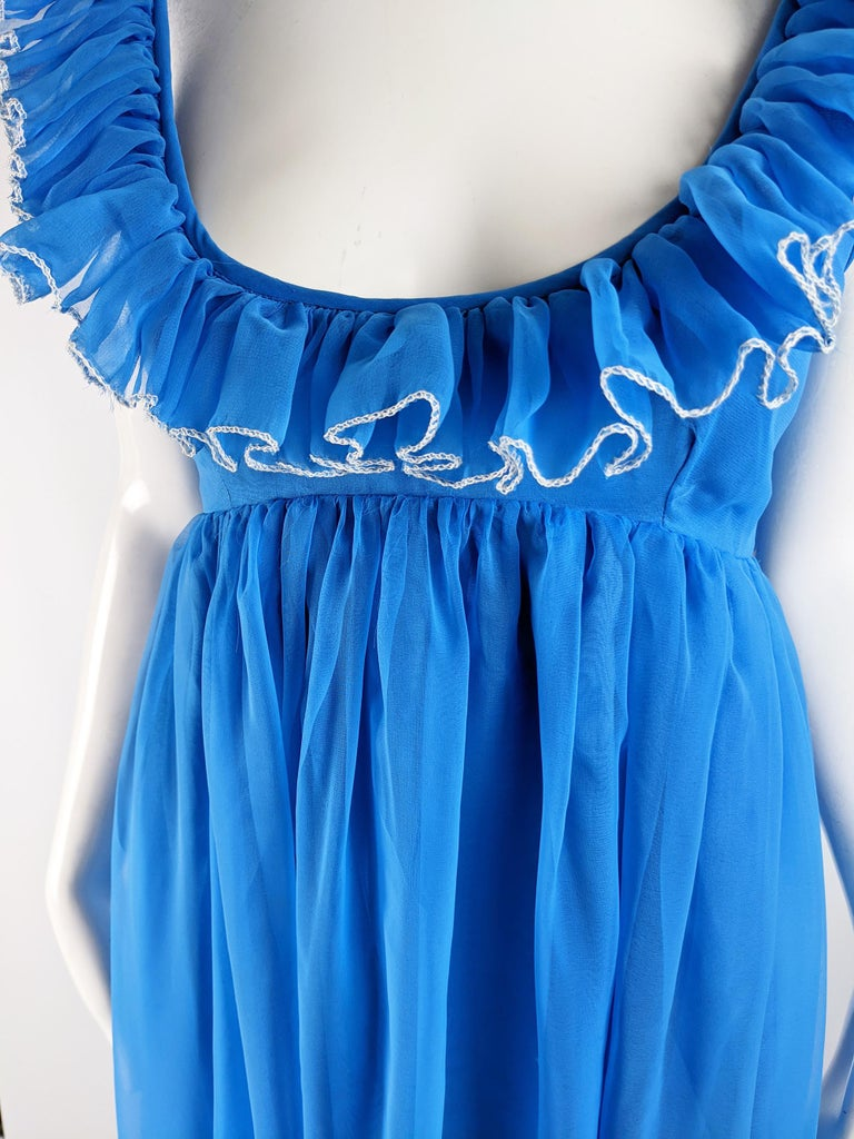 Jean Varon Vintage 1960s Blue Chiffon Maxi Evening Dress In Excellent Condition In Doncaster, South Yorkshire
