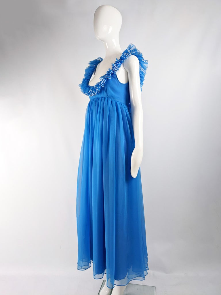 Women's Jean Varon Vintage 1960s Blue Chiffon Maxi Evening Dress