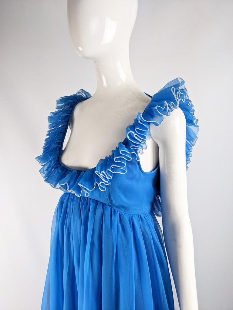 Jean Varon Vintage 1960s Blue Chiffon Maxi Evening Dress 1