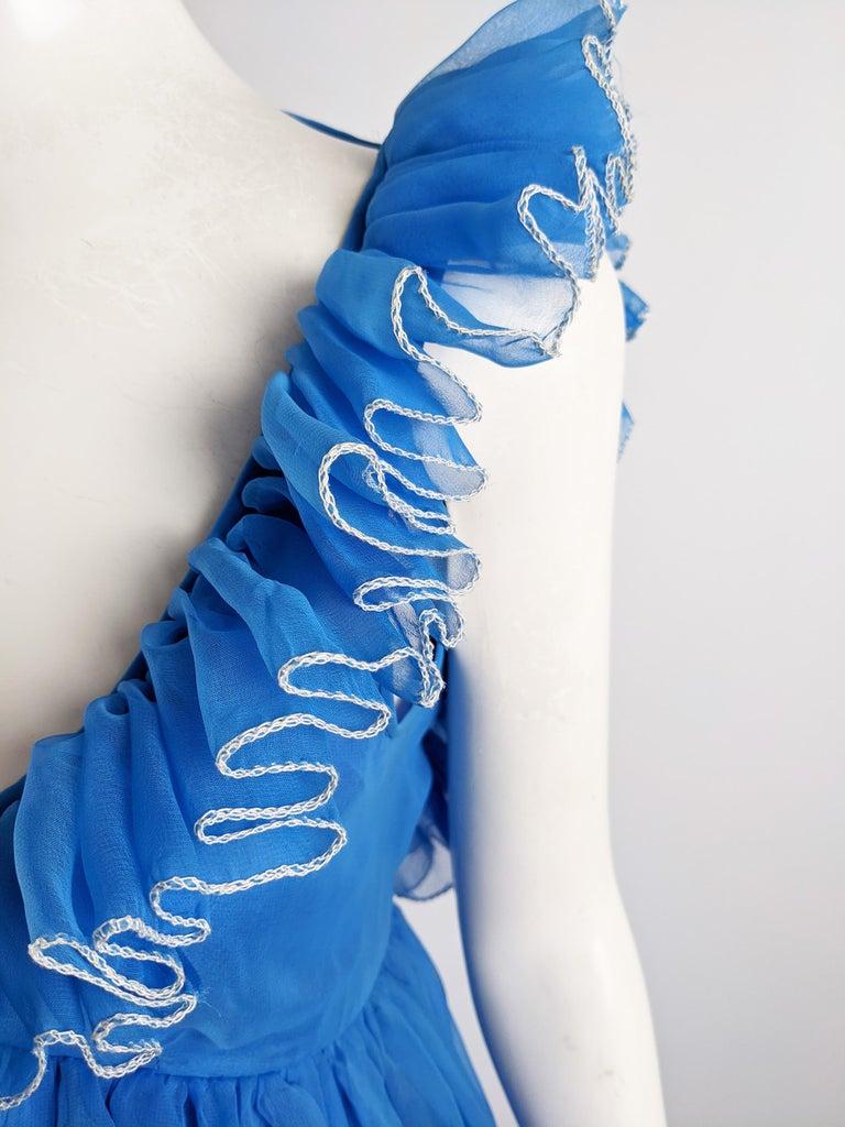 Jean Varon Vintage 1960s Blue Chiffon Maxi Evening Dress 2