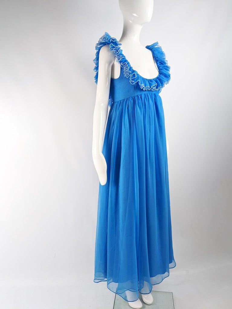 Jean Varon Vintage 1960s Blue Chiffon Maxi Evening Dress 3