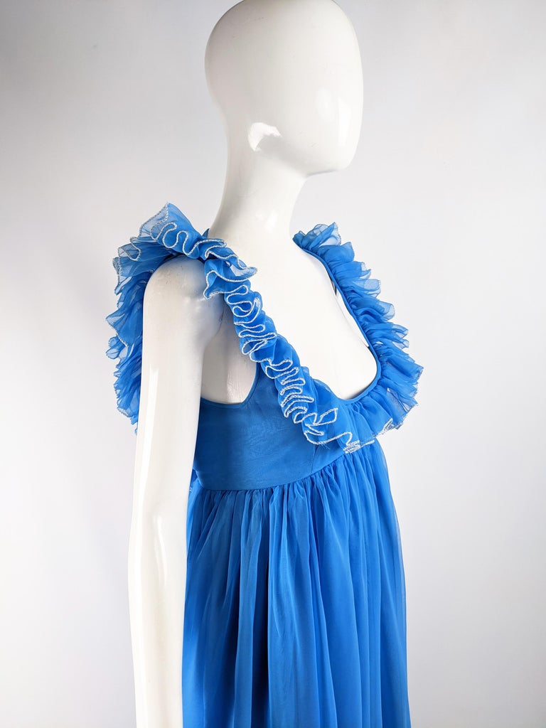 Jean Varon Vintage 1960s Blue Chiffon Maxi Evening Dress 4