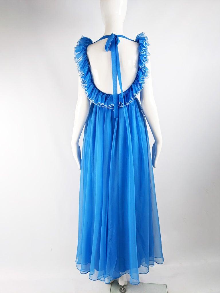 Jean Varon Vintage 1960s Blue Chiffon Maxi Evening Dress 5