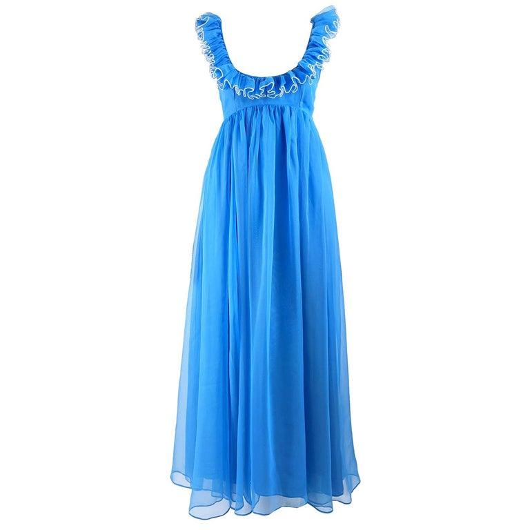 Jean Varon Vintage 1960s Blue Chiffon Maxi Evening Dress
