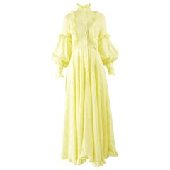 Jean Varon Vintage 1970s Yellow Cotton Maxi Dress