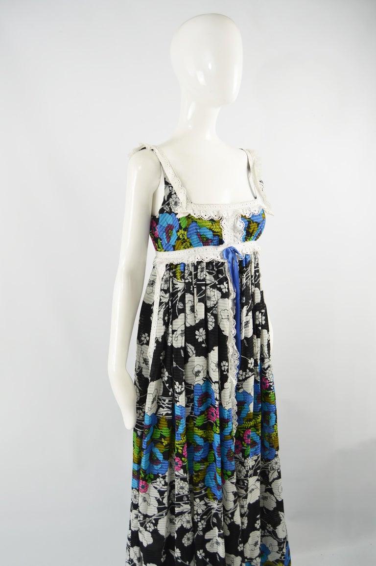 Black Jean Varon Vintage Sleeveless Boho Maxi Dress, 1970s For Sale