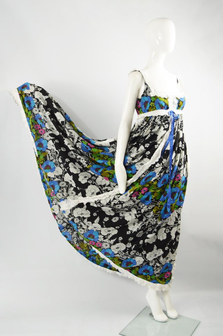 Jean Varon Vintage Sleeveless Boho Maxi Dress, 1970s For Sale 2