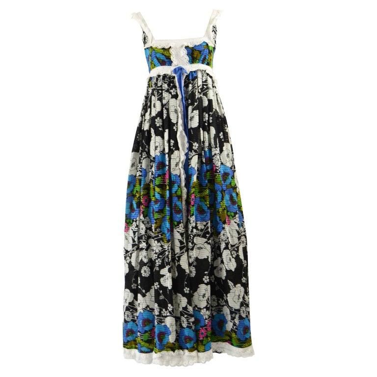 Jean Varon Vintage Sleeveless Boho Maxi Dress, 1970s For Sale