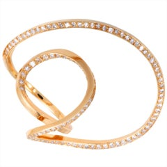 Jean Vendome Diamond Twisted Yellow Gold Cocktail Ring