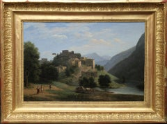 Italian Mountainous River Landscape  - French 19th Century Neo Classical art