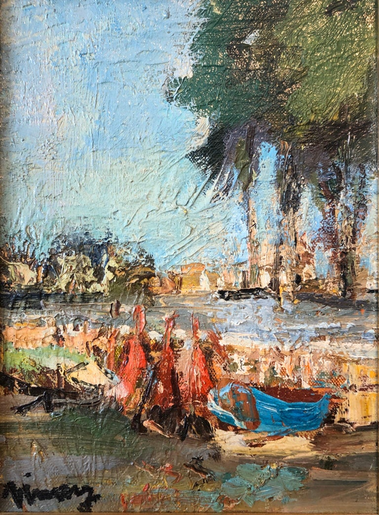 French Expressionist Ecole de Paris Oil Painting Boats on French Riviera - Brown Landscape Painting by Jean VINAY