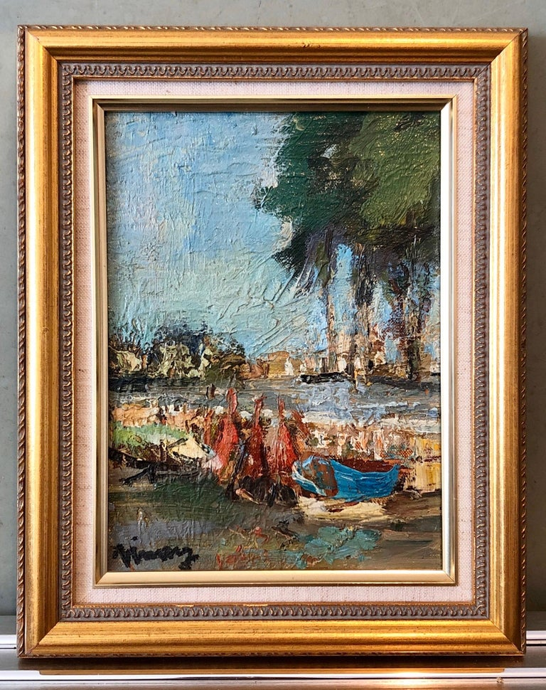French Expressionist Ecole de Paris Oil Painting Boats on French Riviera For Sale 1