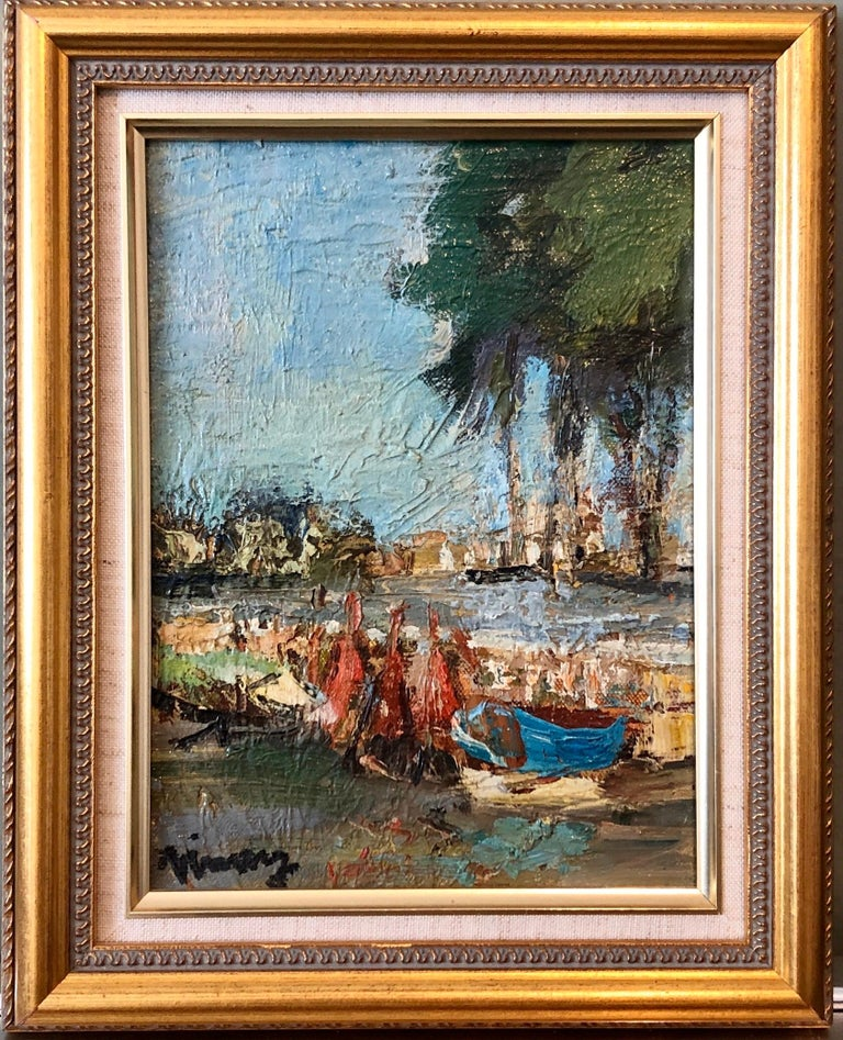 Jean VINAY Landscape Painting - French Expressionist Ecole de Paris Oil Painting Boats on French Riviera