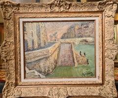 The Grande Bourdon, L'ile St Louis, Paris. Mid Century Oil on Canvas.
