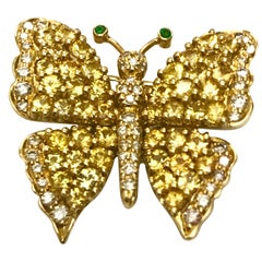 Jean Vitau 18 K Yellow Sapphire & Diamond Butterfly brooch with Emerald antennae