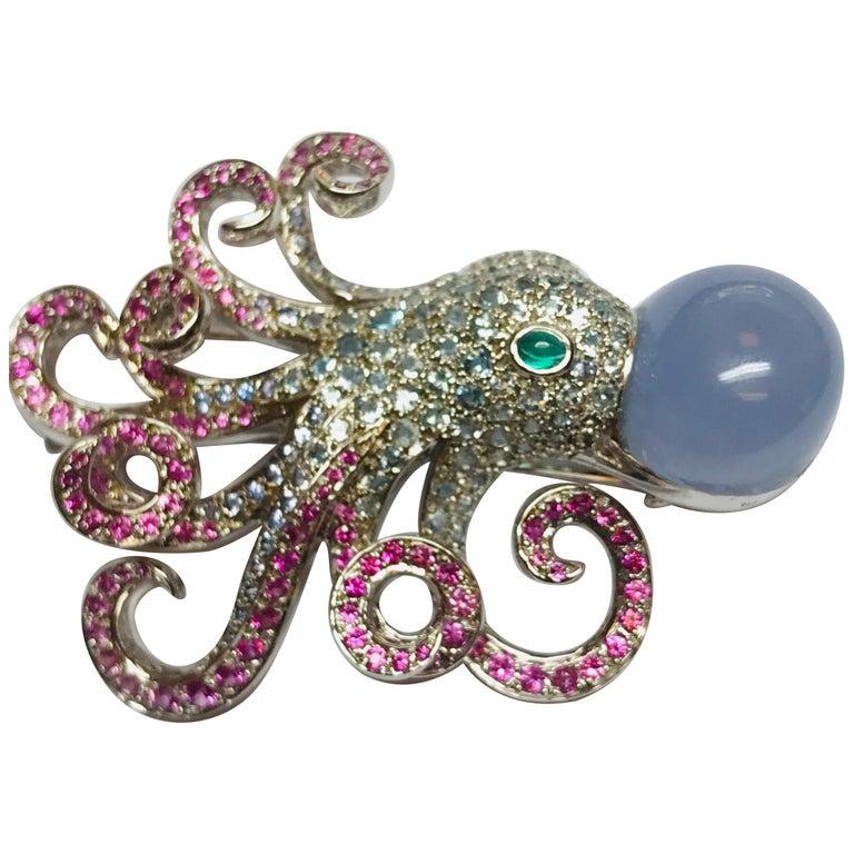 Jean Vitau 18 Karat Aquamarine, Pink Sapphire and Chalcedony Octopus Brooch For Sale