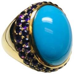 Jean Vitau 18 Karat Cabochon Turquoise and Amethyst Bold Fashion Ring