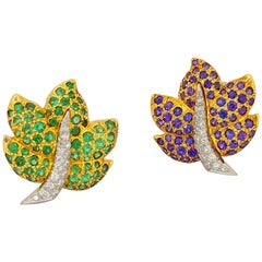 Jean Vitau 18 Karat Gold Lavender Sapphire, Tsavorite and Diamond Leaf Earrings