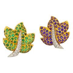 Jean Vitau 18 Karat Gold Lavender Sapphire, Tsavorite and Diamond Leaf Earrings
