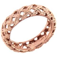 Jean Vitau 18 Karat Rose Gold Basket Weave Ring