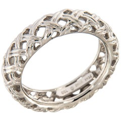 Jean Vitau 18 Karat White Gold Basket Weave Band Ring