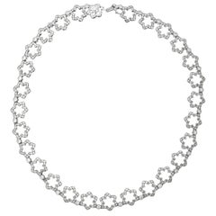 Jean Vitau 18 Karat White Gold Diamond Flower Necklace