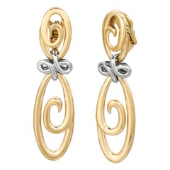"Jean Vitau 18 Karat Yellow and White Gold ""Harmonie"" Earrings"