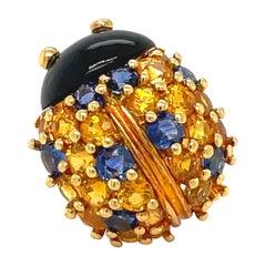 Jean Vitau 18 Karat Yellow Gold Ladybug Brooch with Blue and Yellow Sapphires