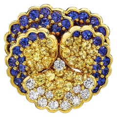 Jean Vitau 18 Karat Yellow Gold Pansy Brooch with Diamonds and Colored Sapphires