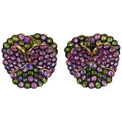 Jean Vitau 18 Karat Yellow Gold Pansy Earrings with 13 Carat of Sapphires