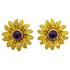 Jean Vitau 18 Karat Yellow Gold Sunflower Earrings Yellow Sapphires and Amethyst