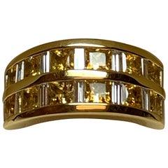 Jean Vitau 18 Karat Yellow Gold, Yellow Sapphire and Diamond Ring