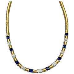 Jean Vitau 18 Karat and Platinum Blue Sapphire and Diamond Necklace