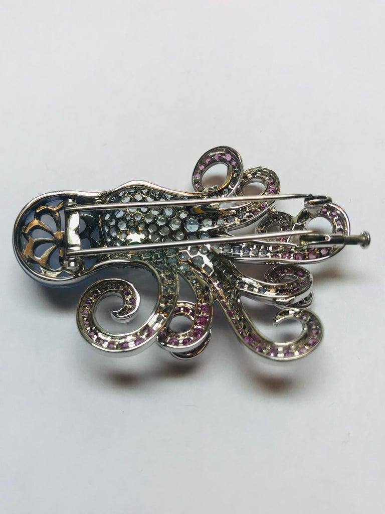 Women's or Men's Jean Vitau 18 Karat Aquamarine, Pink Sapphire and Chalcedony Octopus Brooch For Sale