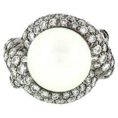 Jean Vitau 18k Black Gold Round Pearl & Diamond Bypass Statement Ring