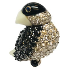 Jean Vitau 18k Black & White Diamond Tropical Bird brooch w/ White Coral,Bl Onyx