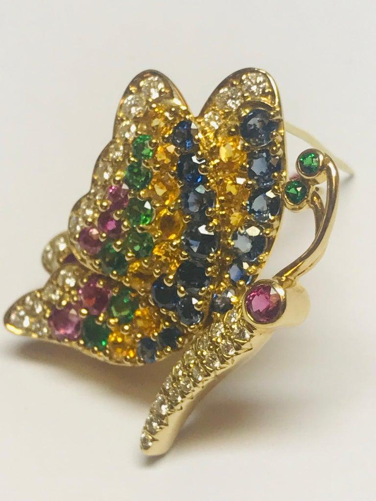 Jean Vitau 18k Blue & Yellow Sapphire,Ruby, Tsavorite Garnet & Diamond Butterfly In New Condition For Sale In New York, NY