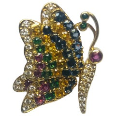 Jean Vitau 18k Blue & Yellow Sapphire,Ruby, Tsavorite Garnet & Diamond Butterfly