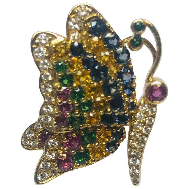 Jean Vitau 18k Blue & Yellow Sapphire,Ruby, Tsavorite Garnet & Diamond Butterfly For Sale