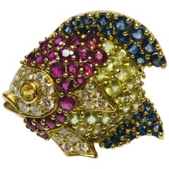 Jean Vitau 18 Karat Multicolored Stone Fish Brooch