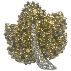 Jean Vitau 18 Karat Olive and White Diamond Maple Leaf Brooch